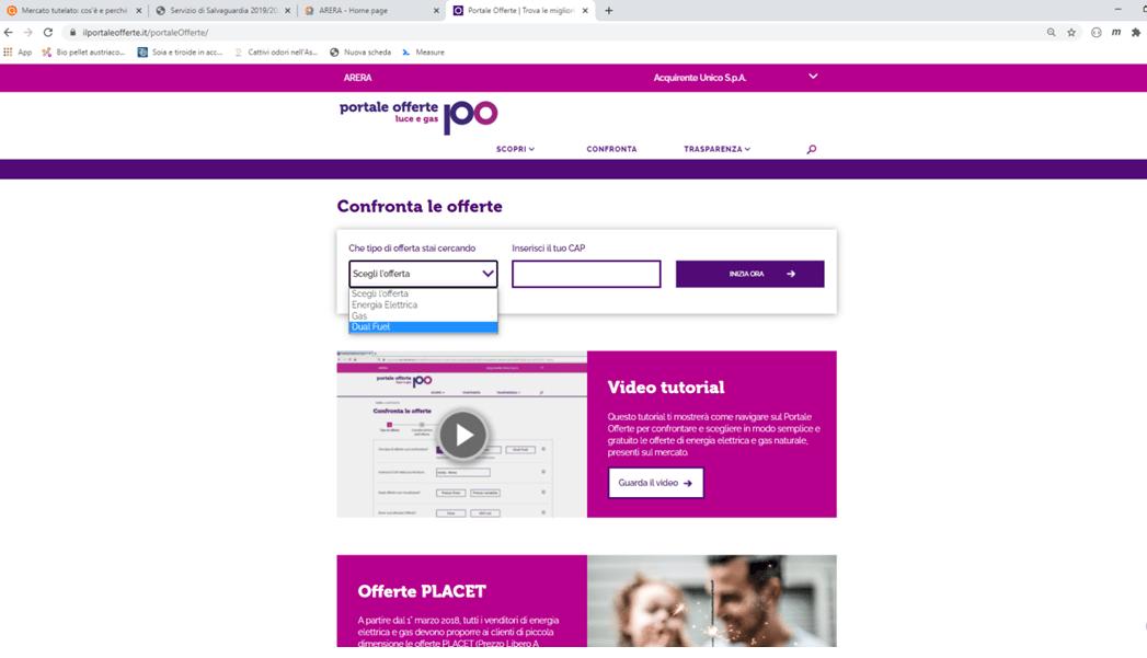 arera portale offerte primo step